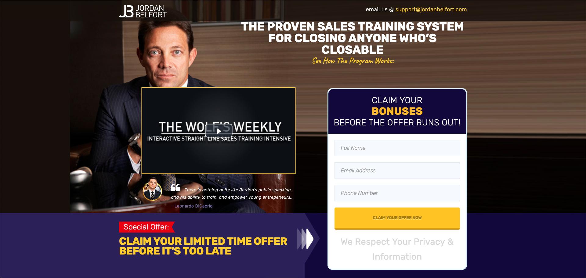 Lær Jordan Belforts salgstræning så du kan lukke alle handler der er lukkebar. Som betyder øget salg på bundlinien. Bemærk træningen er på Engelsk.